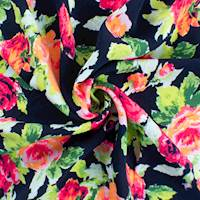 Navy/Multi Floral Print Polyester Challis