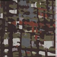 *4 7/8 YD PC--Brown/Olive Abstract Crepe de Chine