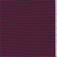 *2 1/2 YD PC--Navy/Red Stripe Rib Jersey Knit