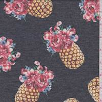 *3 3/8 YD PC--Charcoal Aloha Pineapple Double Knit