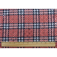 *1 YD PC--Red/Multi Plaid Print Sequin ITY Knit