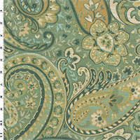 2 YD PC--Seafoam Blue Designer Swept Away Paisley  Decorating Fabric