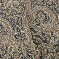 *2 2/3 YD PC--Black/Brown P/Kaufmann Paisley Print Home Decorating Fabric