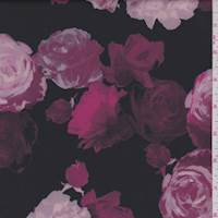 *2 3/8 YD PC--Black/Ruby Rose Floral Scuba Knit