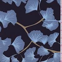 *1 1/4 YD PC--Black/Slate Blue Ginko Silk Crepe de Chine
