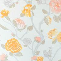 Orange/Ivory Braemore Floral Print Canvas Decorating Fabric