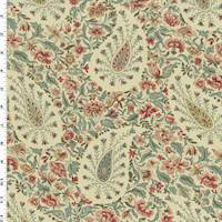 Beige/Multi Waverly Floral Paisley Print Canvas Deco Fabric
