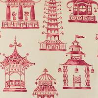 Red/Beige P Kaufmann Temple Print Home Decorating Fabric