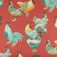 Scarlet Red/Multi P Kaufmann Hen Print Decorating Fabric