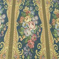 Navy/Multi Floral Stripe Tapestry Home Decorating Fabric