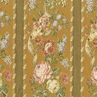 Copper Beige/Multi Floral Stripe Jacquard Decorating Fabric