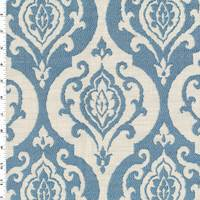 Frosted Ocean Blue/Ivory Baroque Jacquard Decorating Fabric