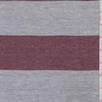 *2 YD PC--Heather Red/Grey Stripe Jersey Sweater Knit