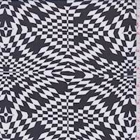 *3 YD PC--Black/White Geometric Burst Chiffon