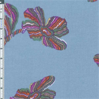 *2 YD PC--Blue Flower Print Chiffon