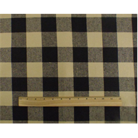 *5 YD PC--Beige/Black Cotton Gingham Home Decorating Fabric