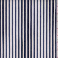 *2 YD PC--Ivory/Regal Blue Stripe Stretch Denim