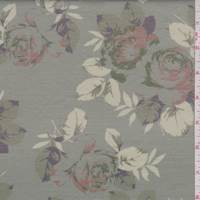 *1 3/4 YD PC--Sage Green Rose  Floral Double Knit