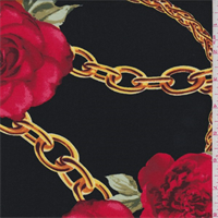 *1 3/8 YD PC--Black/Red Floral Chain Jersey Knit