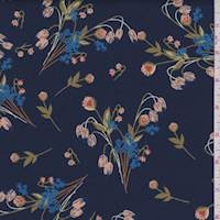 Navy Floral Bouquet Scuba Knit