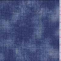 Deep Blue Mottled Denim Print Scuba Knit