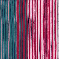 Teal/Red/Pink Stripe Print Challis