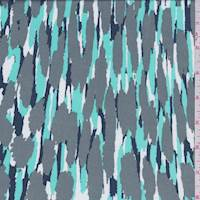 Nickel Abstract Zig Zag Rayon Challis