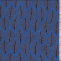 *2 5/8 YD PC--Aqua Leaf Print Rayon Challis
