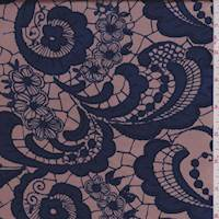 *3 1/2 YD PC--Pale Copper/Navy Lace Print Silk Charmeuse