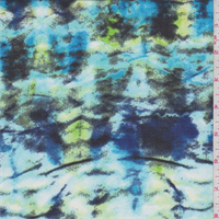 *4 1/2 YD PC--Aqua/Green Print Chiffon