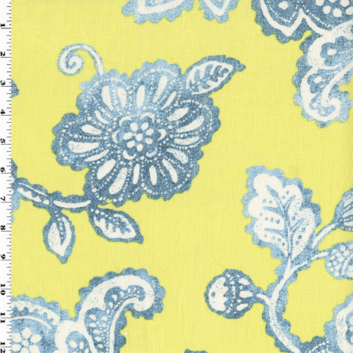 Lemon Yellow Teal Braemore Floral Print Home Decor Fabric
