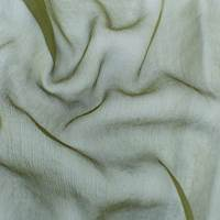 Olive Green Silk Crinkle Chiffon