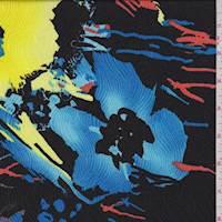 *2 5/8 YD PC--Black Vibrant Floral Jacquard Charmeuse