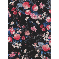 *1 YD PC--Black Floral Crepe de Chine