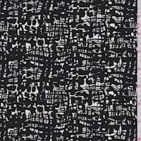 *4 YD PC--Black/White Woven Print Silk Crepe de Chine