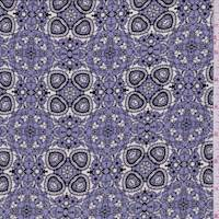 *7/8 YD PC--Periwinkle Purple Kaleidescope Silk Crepe de Chine