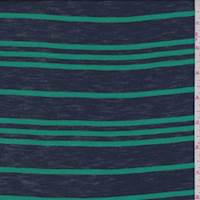 Navy/Green Stripe Cotton Jersey Knit
