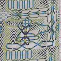 Ecru/Green Tribal Silk Chiffon