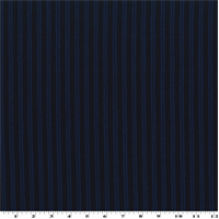 *1 1/8 YD PC--Black/Blue Wool Striped Flannel