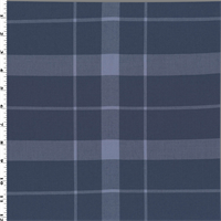 *1 YD PC--Blue Wool Blend Plaid Gabardine