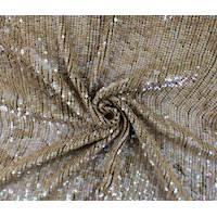 *1 3/8 YD PC--Pearlescent Hazelnut Beige Sequin Silk Chiffon