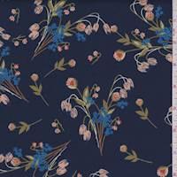 *1 YD PC--Navy Floral Bouquet Scuba Knit