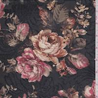 Black Floral Burnout Velour