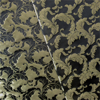 *1/2 Y PC--Black/Gold Vector Leaf Jacquard Home Decorating Fabric