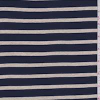 Navy/Tan Stripe Cotton Jersey Knit