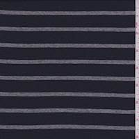 Dark Navy/Grey Stripe Cotton Jersey Knit