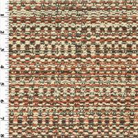 *3 1/2 YD PC--Orange/Ivory Woven Stripe Home Decorating Fabric