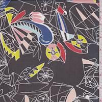 Black Multi Abstract Silk Chiffon