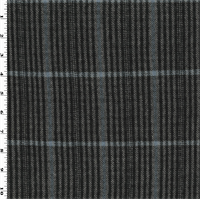 *2 YD PC--Black/Gray/Blue Wool/Cotton Plaid Flannel