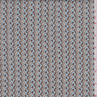 *2 5/8 YD PC--Spa Blue/Brown Lipstick Herringbone Stretch Twill